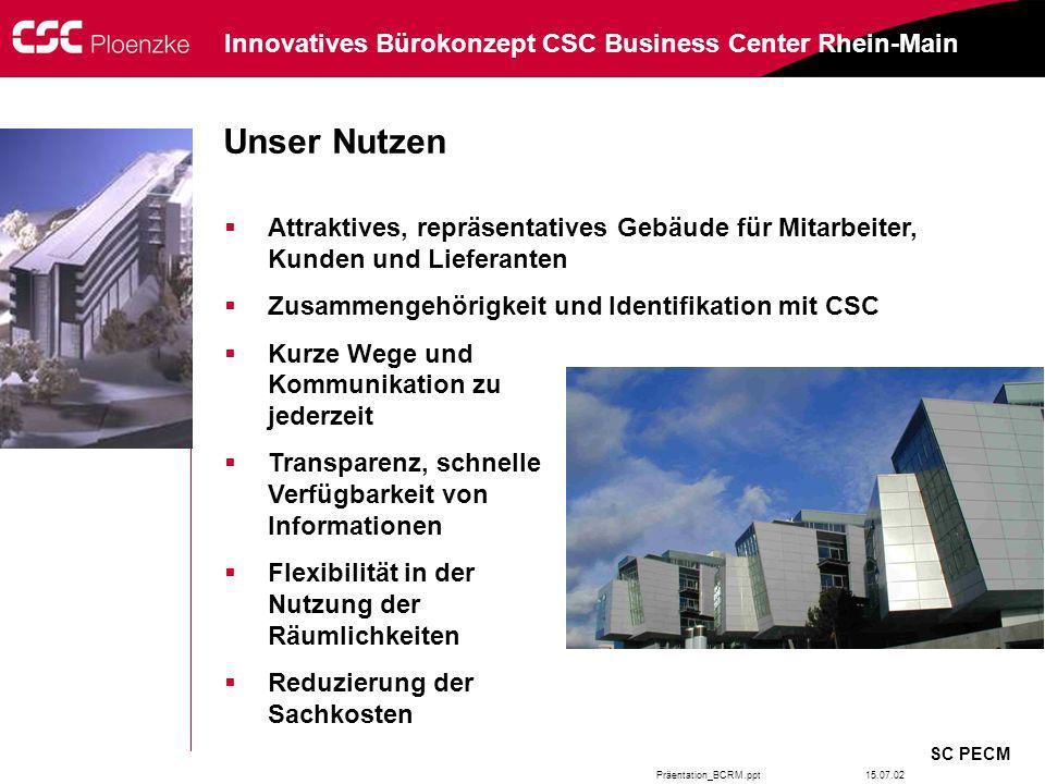 Präentation_BCRM.ppt SC PECM Innovatives Bürokonzept CSC Business Center Rhein-Main 15.07.02 Attraktives, repräsentatives Gebäude für Mitarbeiter, Kun