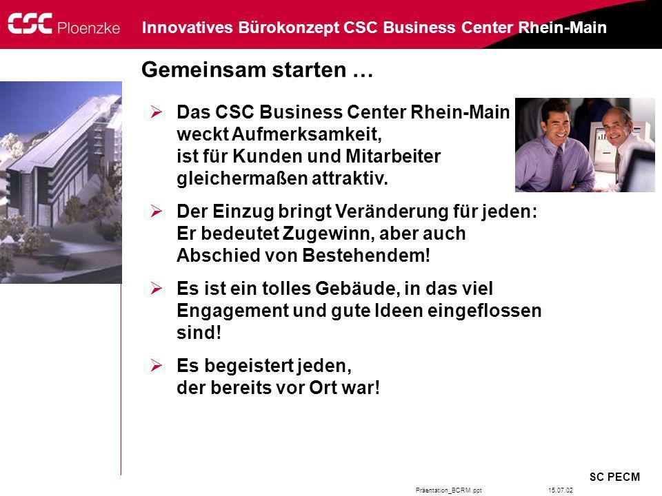 Präentation_BCRM.ppt SC PECM Innovatives Bürokonzept CSC Business Center Rhein-Main 15.07.02 Gemeinsam starten … Das CSC Business Center Rhein-Main we