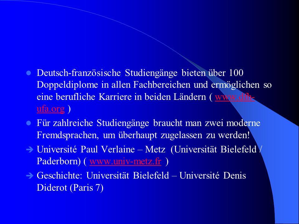 Deutsch-französische Studiengänge bieten über 100 Doppeldiplome in allen Fachbereichen und ermöglichen so eine berufliche Karriere in beiden Ländern (
