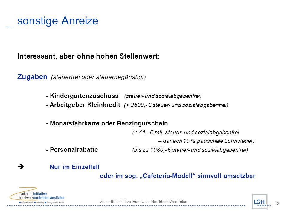 Zukunfts-Initiative Handwerk Nordrhein-Westfalen 15 sonstige Anreize Interessant, aber ohne hohen Stellenwert: Zugaben (steuerfrei oder steuerbegünstigt) - Kindergartenzuschuss (steuer- und sozialabgabenfrei) - Arbeitgeber Kleinkredit (< 2600,- steuer- und sozialabgabenfrei) - Monatsfahrkarte oder Benzingutschein (< 44,- mtl.