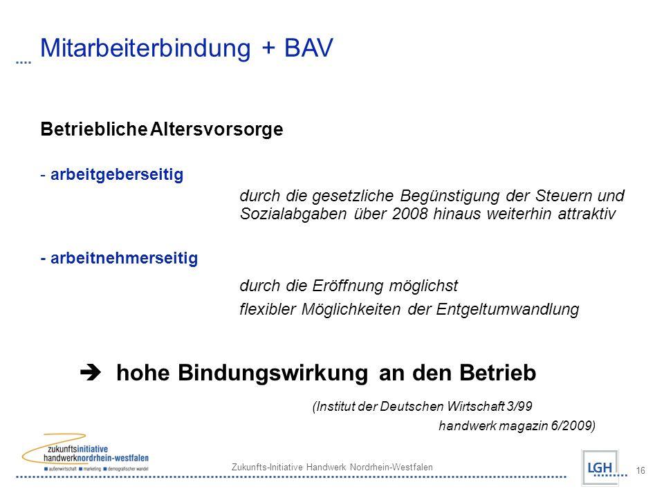 Zukunfts-Initiative Handwerk Nordrhein-Westfalen 16 Mitarbeiterbindung + BAV Betriebliche Altersvorsorge - arbeitgeberseitig durch die gesetzliche Beg