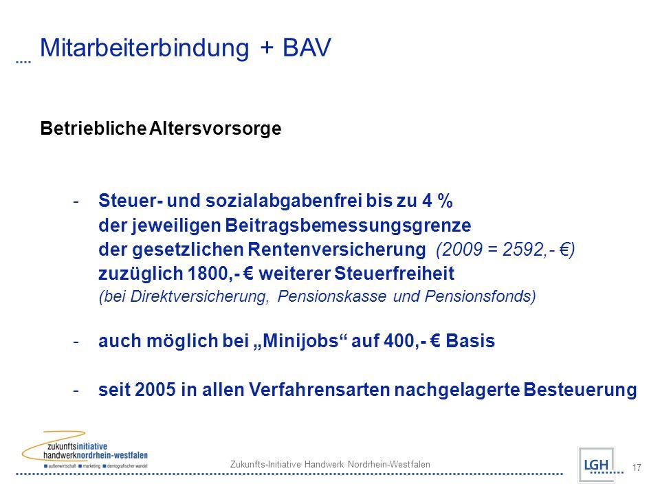 Zukunfts-Initiative Handwerk Nordrhein-Westfalen 17 Mitarbeiterbindung + BAV Betriebliche Altersvorsorge - Steuer- und sozialabgabenfrei bis zu 4 % der jeweiligen Beitragsbemessungsgrenze der gesetzlichen Rentenversicherung (2009 = 2592,- ) zuzüglich 1800,- weiterer Steuerfreiheit (bei Direktversicherung, Pensionskasse und Pensionsfonds) - auch möglich bei Minijobs auf 400,- Basis - seit 2005 in allen Verfahrensarten nachgelagerte Besteuerung