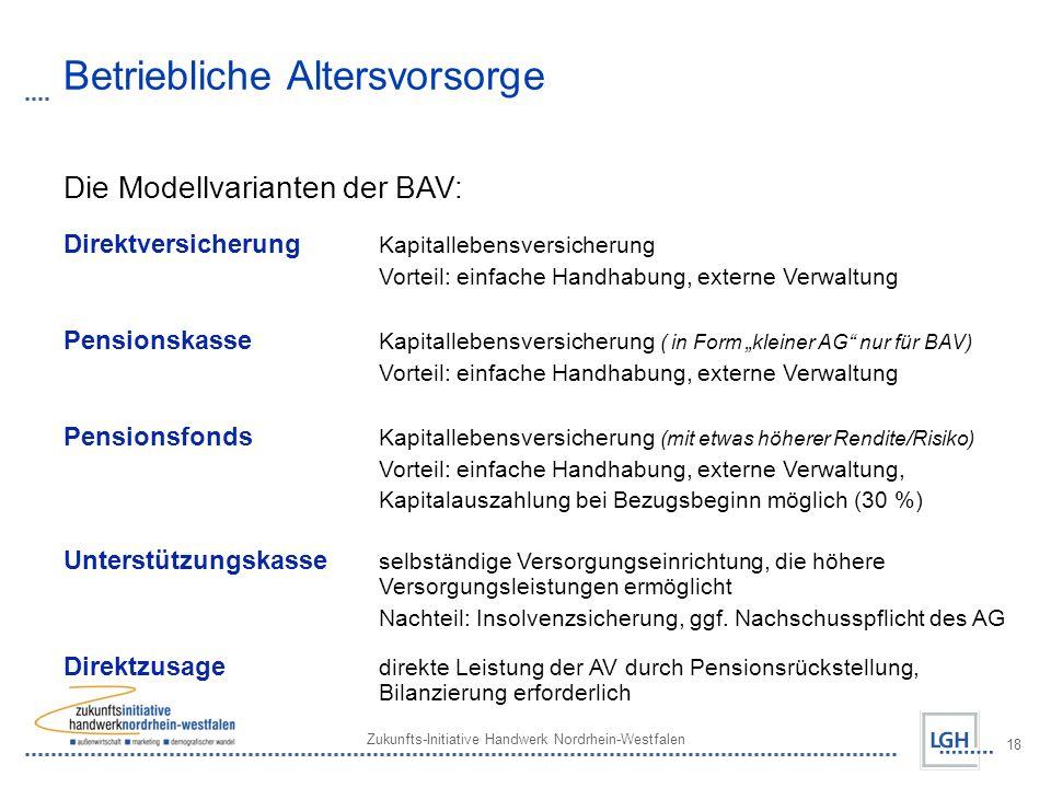 Zukunfts-Initiative Handwerk Nordrhein-Westfalen 18 Betriebliche Altersvorsorge Die Modellvarianten der BAV: Direktversicherung Kapitallebensversicher