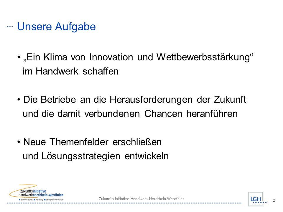 Zukunfts-Initiative Handwerk Nordrhein-Westfalen 2 Unsere Aufgabe Ein Klima von Innovation und Wettbewerbsstärkung im Handwerk schaffen Die Betriebe an die Herausforderungen der Zukunft und die damit verbundenen Chancen heranführen Neue Themenfelder erschließen und Lösungsstrategien entwickeln