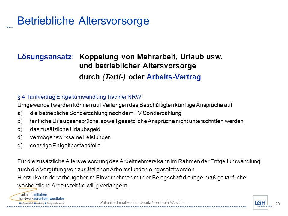 Zukunfts-Initiative Handwerk Nordrhein-Westfalen 20 Betriebliche Altersvorsorge Lösungsansatz: Koppelung von Mehrarbeit, Urlaub usw. und betrieblicher