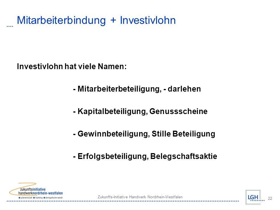Zukunfts-Initiative Handwerk Nordrhein-Westfalen 22 Mitarbeiterbindung + Investivlohn Investivlohn hat viele Namen: - Mitarbeiterbeteiligung, - darlehen - Kapitalbeteiligung, Genussscheine - Gewinnbeteiligung, Stille Beteiligung - Erfolgsbeteiligung, Belegschaftsaktie