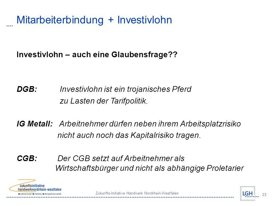 Zukunfts-Initiative Handwerk Nordrhein-Westfalen 23 Mitarbeiterbindung + Investivlohn Investivlohn – auch eine Glaubensfrage?? DGB: Investivlohn ist e