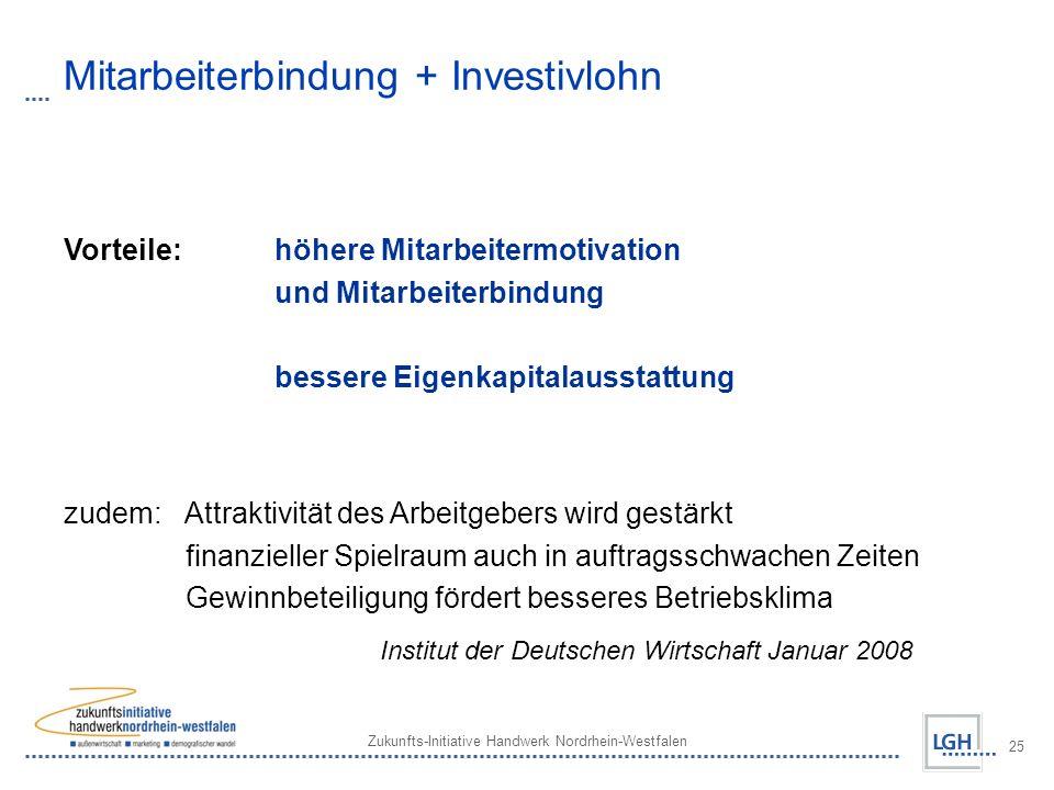 Zukunfts-Initiative Handwerk Nordrhein-Westfalen 25 Mitarbeiterbindung + Investivlohn Vorteile: höhere Mitarbeitermotivation und Mitarbeiterbindung be