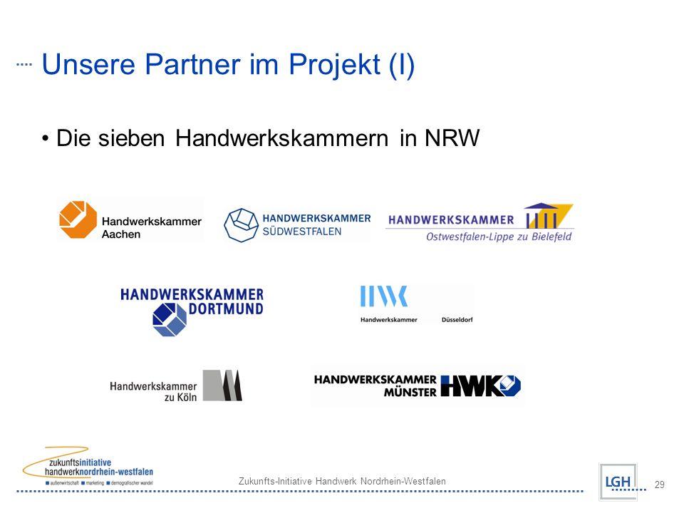 Zukunfts-Initiative Handwerk Nordrhein-Westfalen 29 Unsere Partner im Projekt (I) Die sieben Handwerkskammern in NRW
