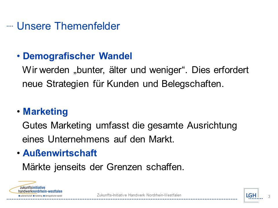 Zukunfts-Initiative Handwerk Nordrhein-Westfalen 3 Unsere Themenfelder Demografischer Wandel Wir werden bunter, älter und weniger.