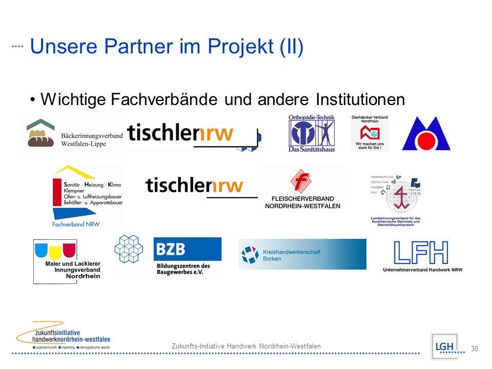 Zukunfts-Initiative Handwerk Nordrhein-Westfalen 30 Unsere Partner im Projekt (II) Wichtige Fachverbände und andere Institutionen