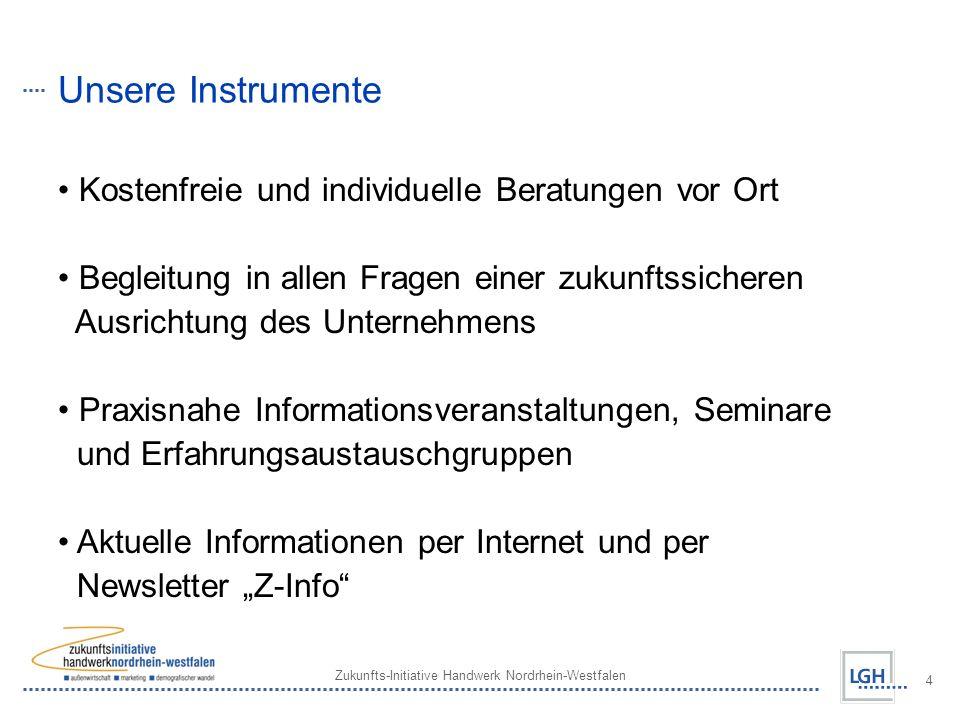 Zukunfts-Initiative Handwerk Nordrhein-Westfalen 4 Unsere Instrumente Kostenfreie und individuelle Beratungen vor Ort Begleitung in allen Fragen einer