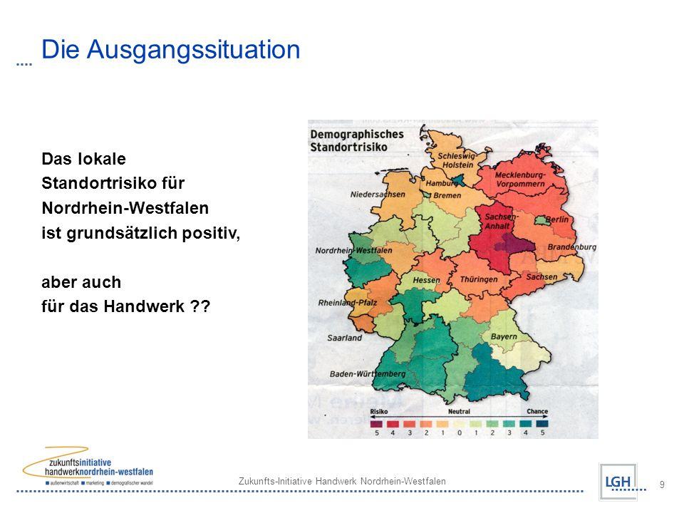 Zukunfts-Initiative Handwerk Nordrhein-Westfalen 9 Die Ausgangssituation Das lokale Standortrisiko für Nordrhein-Westfalen ist grundsätzlich positiv,