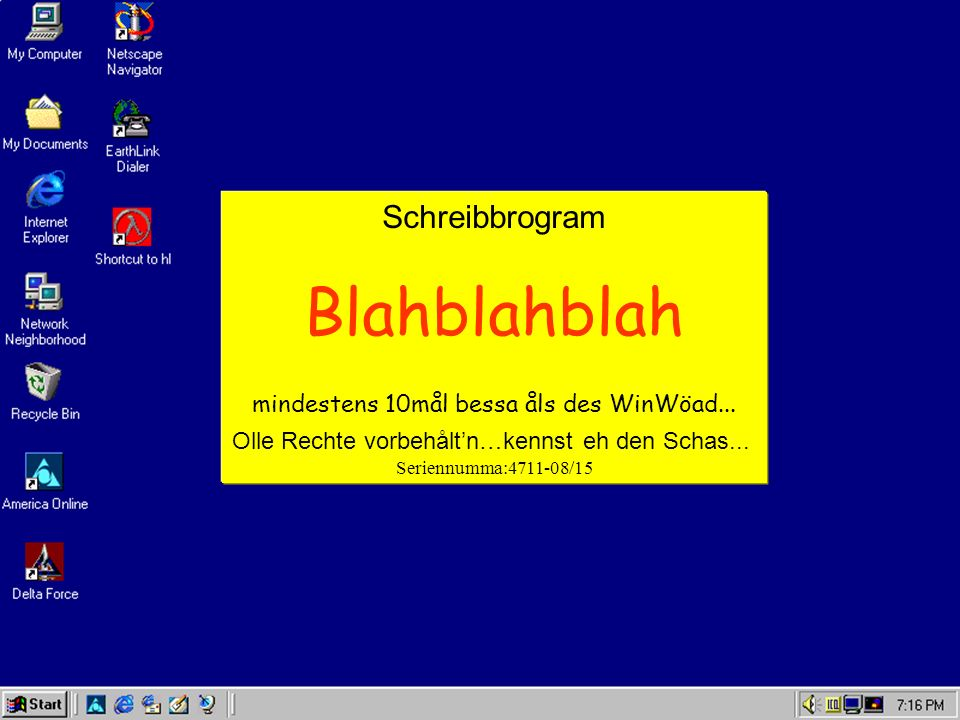 Schreibbrogram Blahblahblah mindestens 10mål bessa åls des WinWöad...