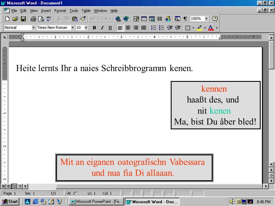 Schreibbrogram Blahblahblah mindestens 10mål bessa åls des WinWöad... Olle Rechte vorbehåltn…kennst eh den Schas... Seriennumma:4711-08/15