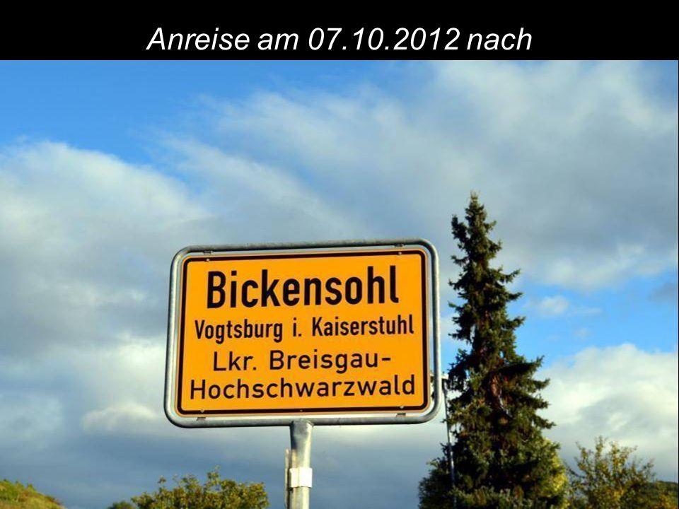 Anreise am 07.10.2012 nach