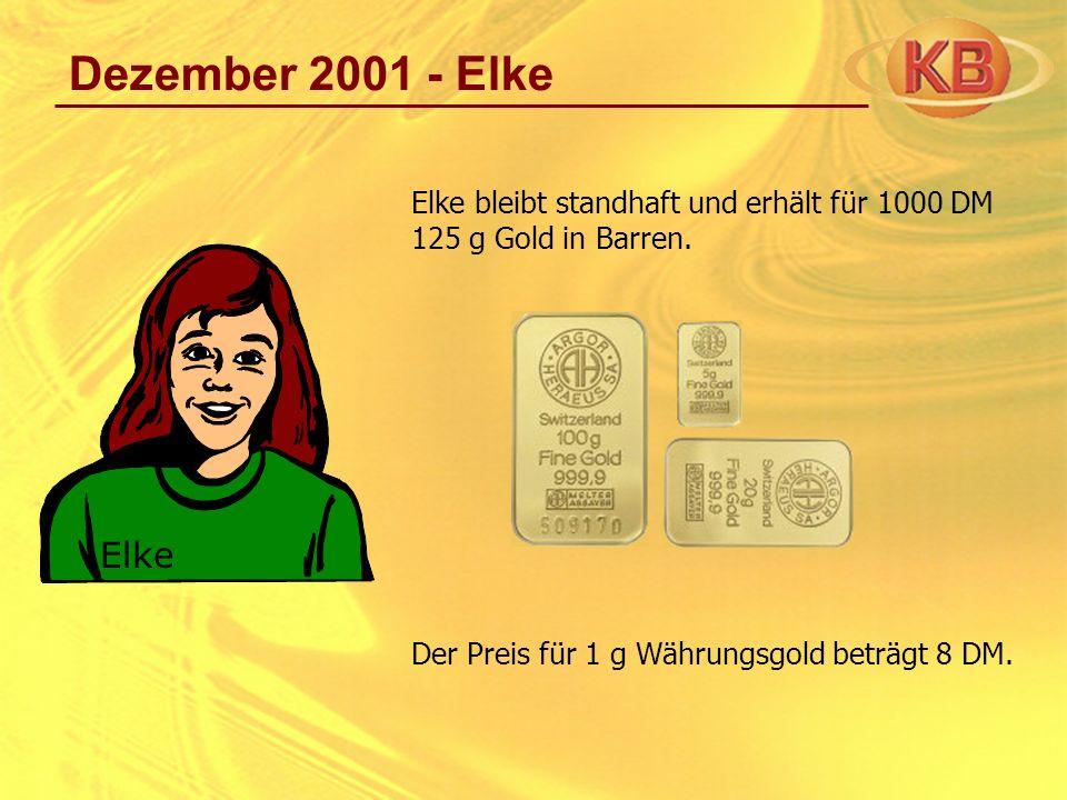 Dezember 2001 - Elke Elke bleibt standhaft und erhält für 1000 DM 125 g Gold in Barren. Der Preis für 1 g Währungsgold beträgt 8 DM. Elke