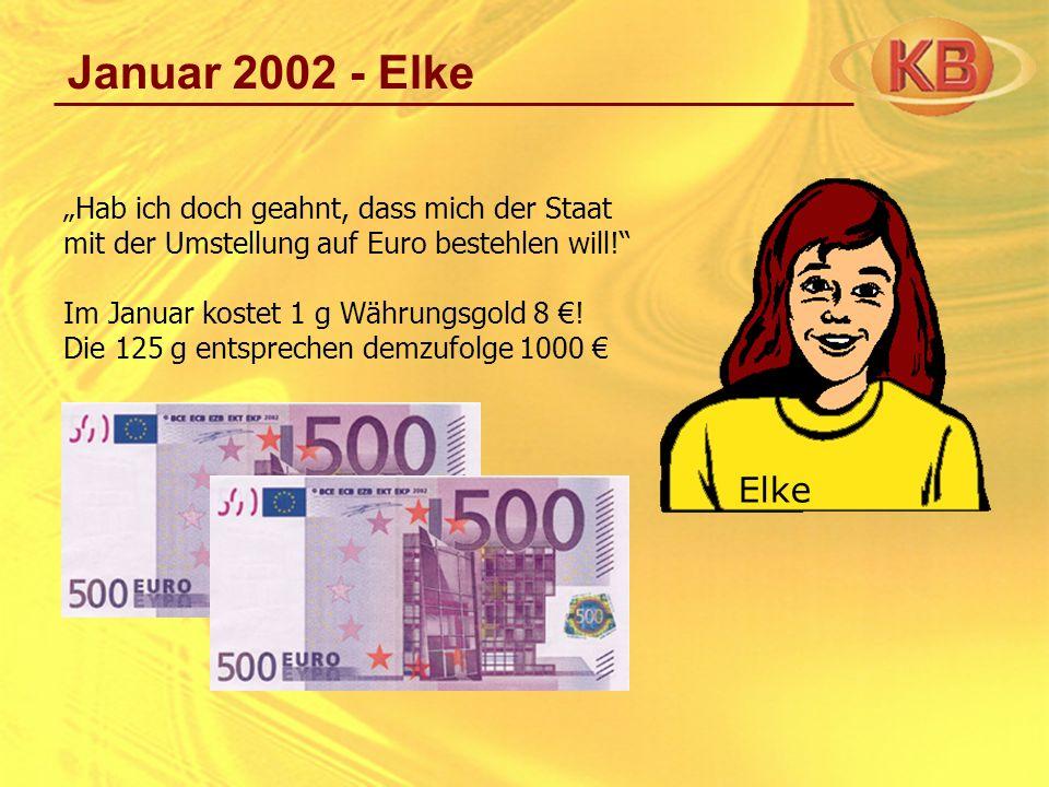 Januar 2002 - Elke Hab ich doch geahnt, dass mich der Staat mit der Umstellung auf Euro bestehlen will! Im Januar kostet 1 g Währungsgold 8 ! Die 125