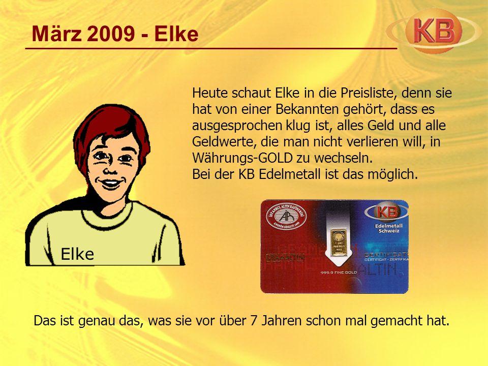 März 2009 - Elke Heute schaut Elke in die Preisliste, denn sie hat von einer Bekannten gehört, dass es ausgesprochen klug ist, alles Geld und alle Gel