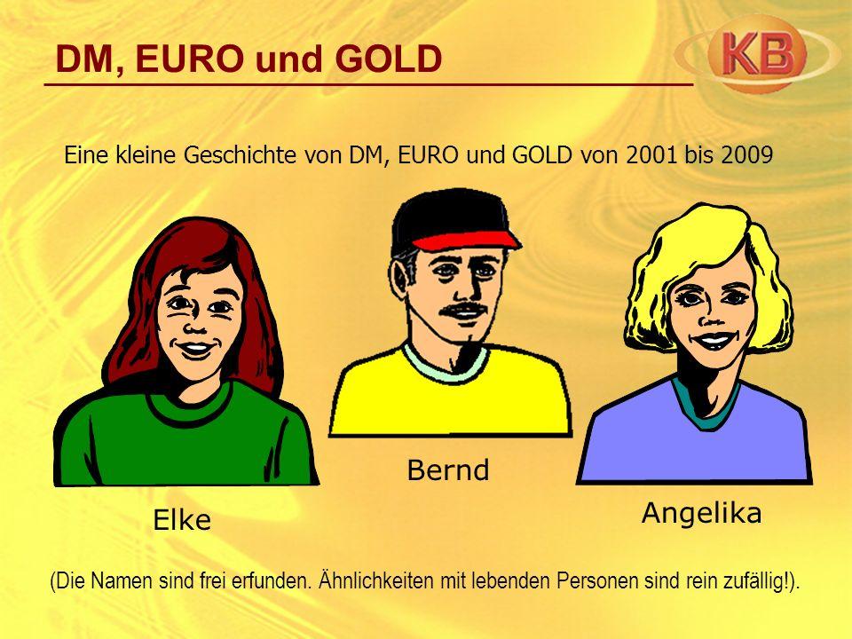 Eine kleine Geschichte von DM, EURO und GOLD von 2001 bis 2009 Angelika Elke Bernd (Die Namen sind frei erfunden. Ähnlichkeiten mit lebenden Personen