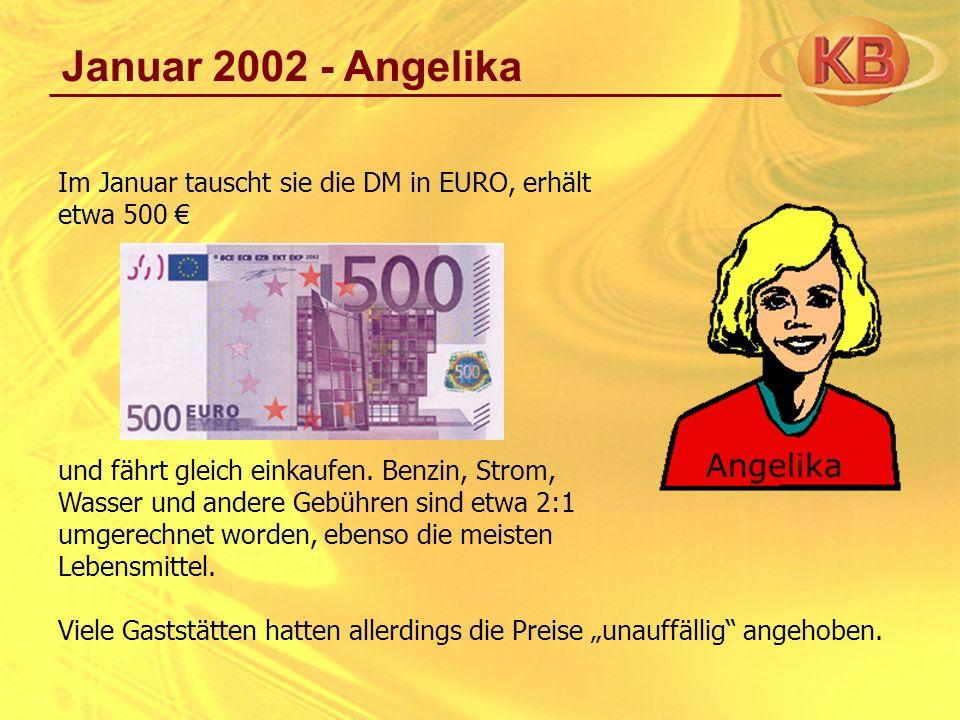 Januar 2002 - Angelika Im Januar tauscht sie die DM in EURO, erhält etwa 500 und fährt gleich einkaufen. Benzin, Strom, Wasser und andere Gebühren sin