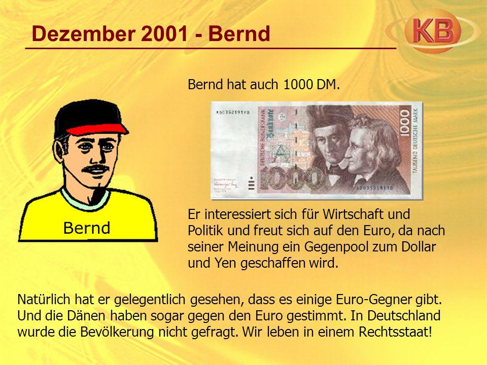 Dezember 2001 - Bernd Bernd hat auch 1000 DM. Er interessiert sich für Wirtschaft und Politik und freut sich auf den Euro, da nach seiner Meinung ein