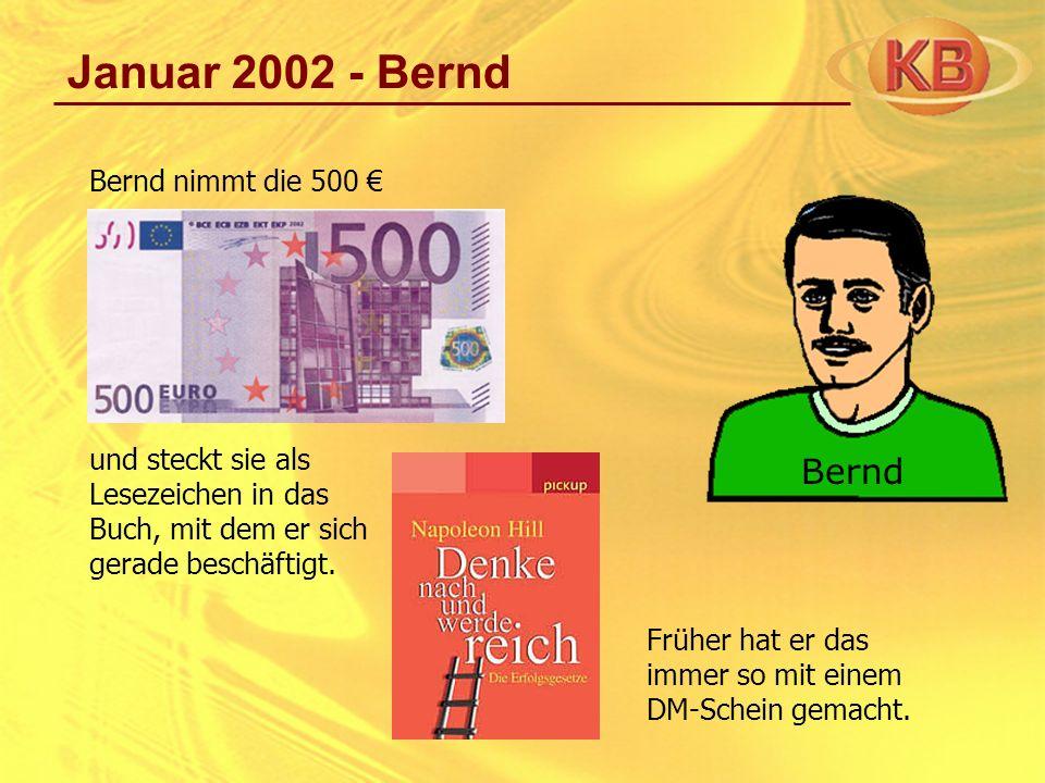 Januar 2002 - Bernd Bernd nimmt die 500 und steckt sie als Lesezeichen in das Buch, mit dem er sich gerade beschäftigt. Früher hat er das immer so mit
