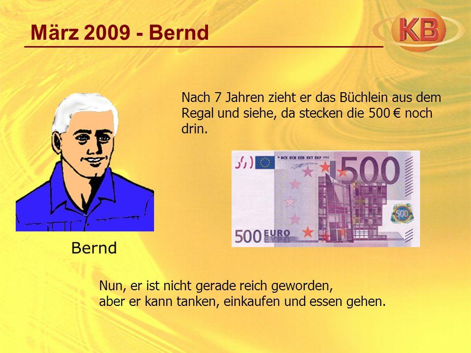 März 2009 - Bernd Als er aber die Preise von 2002 mit denen von 2009 vergleicht – denn er führt sorgsam ein Haushaltbuch - stellt er fest, dass der 500 - Schein nur noch eine Kaufkraft von 200 hat.
