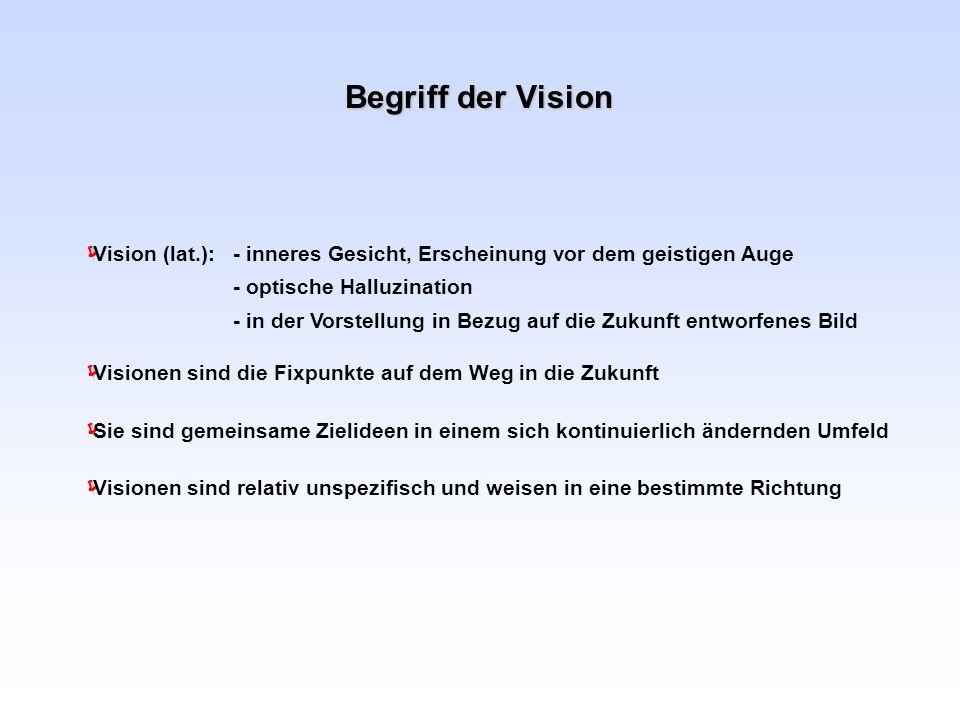 Begriff der Vision Visionen sind die Fixpunkte auf dem Weg in die Zukunft Sie sind gemeinsame Zielideen in einem sich kontinuierlich ändernden Umfeld