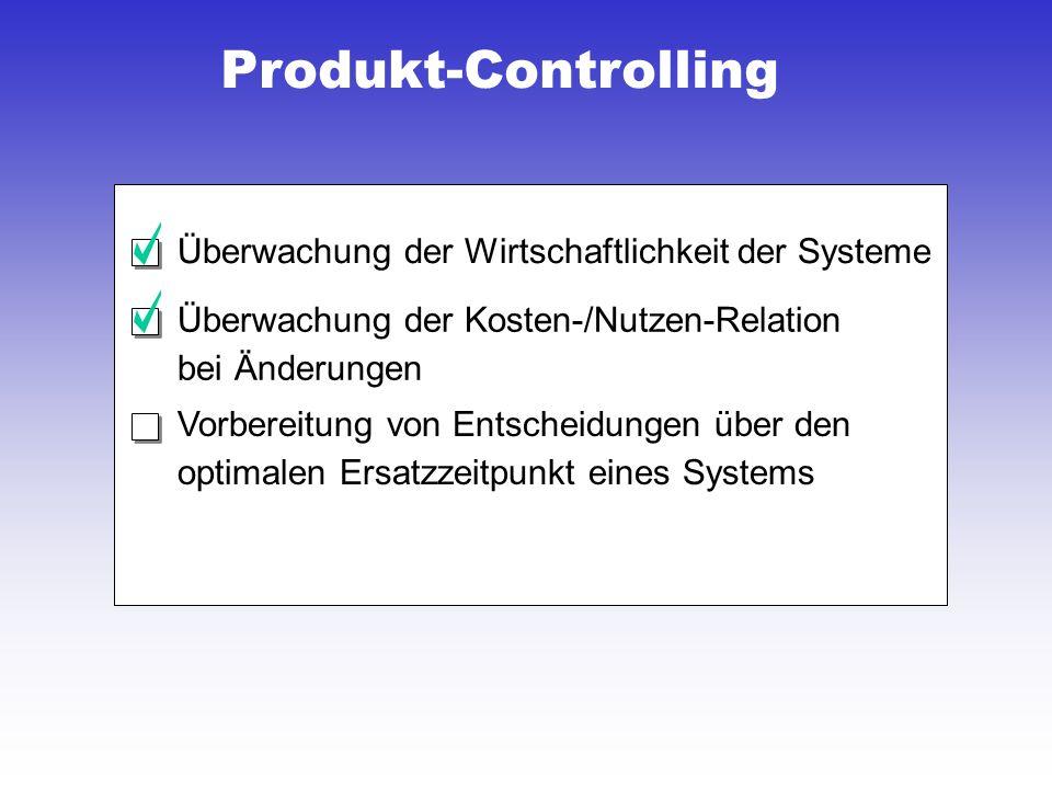 Produkt-Controlling Überwachung der Wirtschaftlichkeit der Systeme Überwachung der Kosten-/Nutzen-Relation bei Änderungen Vorbereitung von Entscheidungen über den optimalen Ersatzzeitpunkt eines Systems