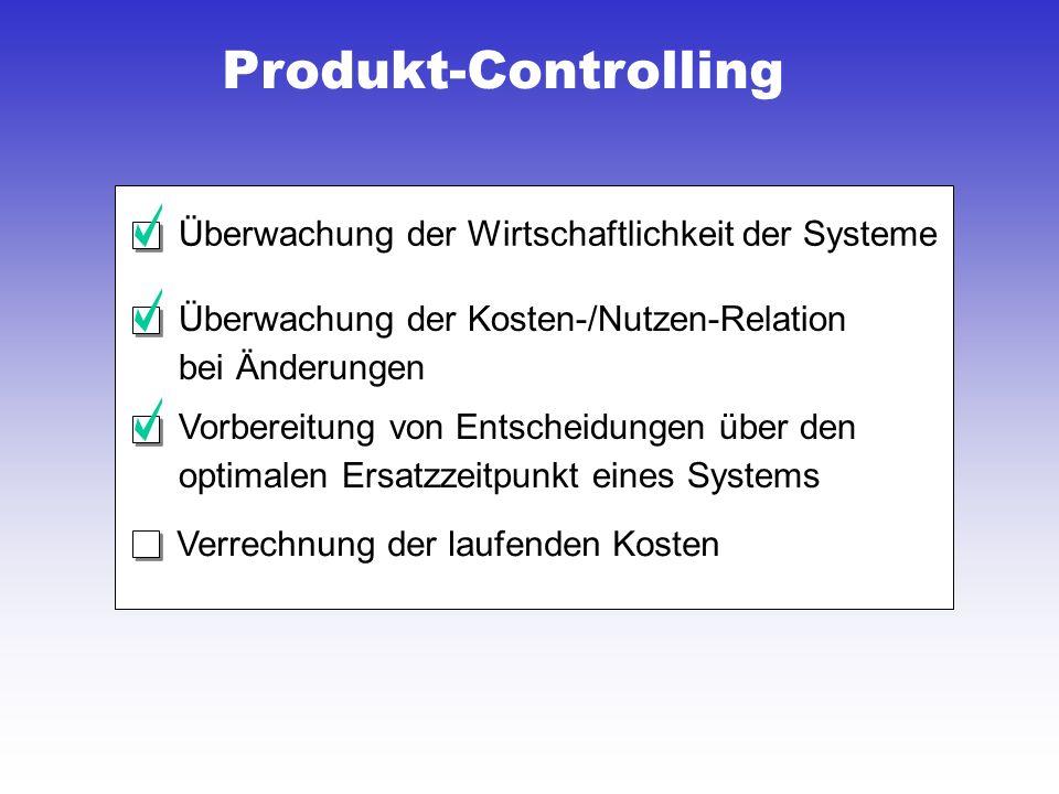 Produkt-Controlling Verrechnung der laufenden Kosten Überwachung der Wirtschaftlichkeit der Systeme Überwachung der Kosten-/Nutzen-Relation bei Änderungen Vorbereitung von Entscheidungen über den optimalen Ersatzzeitpunkt eines Systems