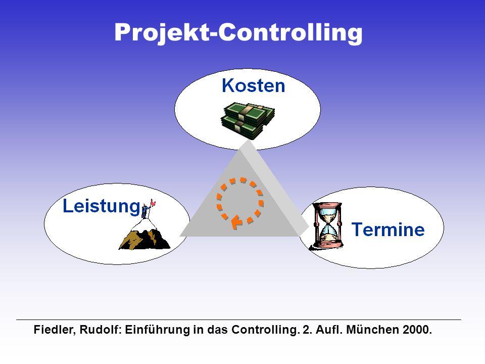 Projekt-Controlling Fiedler, Rudolf: Einführung in das Controlling. 2. Aufl. München 2000.