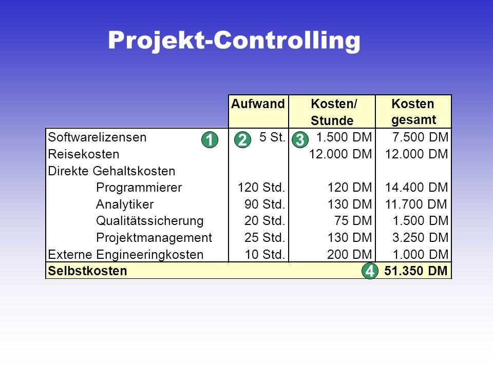 Projekt-Controlling AufwandKosten/Kosten Stunde Softwarelizensen5 St.1.500 DM7.500 DM Reisekosten12.000 DM Direkte Gehaltskosten Programmierer120 Std.