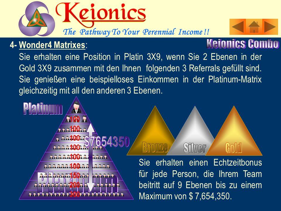Sie erhalten eine Position in der Gold 3X9, wenn 2 Ebenen Ihrer Silber 3X9 gefüllt sind.