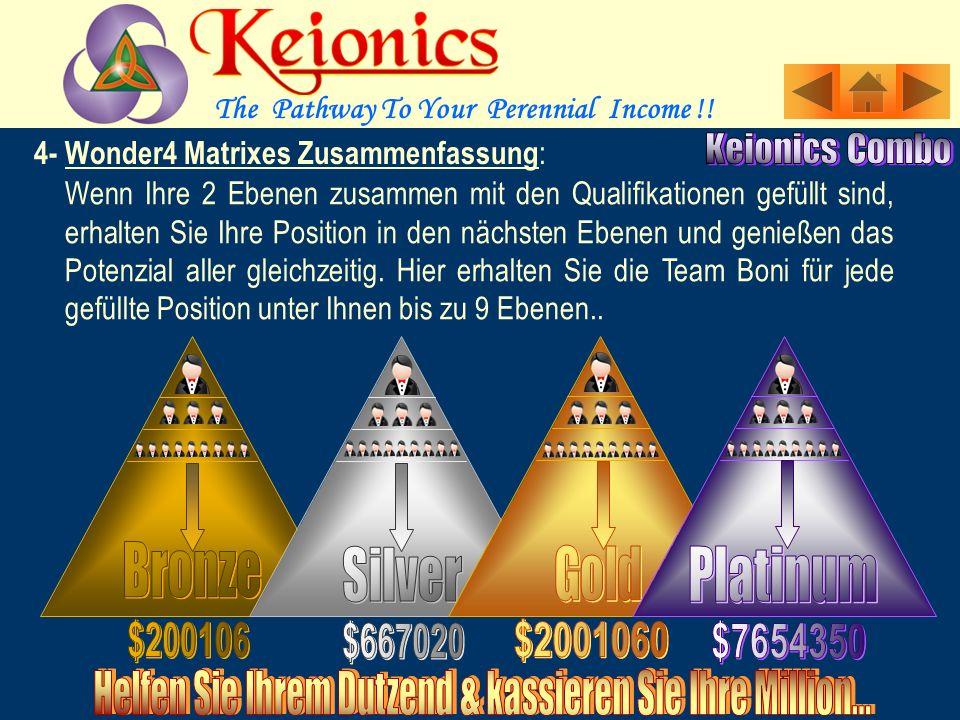 Sie erhalten eine Position in Platin 3X9, wenn Sie 2 Ebenen in der Gold 3X9 zusammen mit den Ihnen folgenden 3 Referrals gefüllt sind.