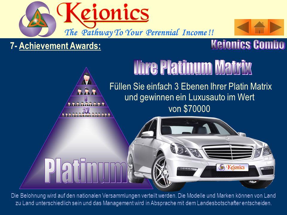 7- Achievement Awards: Füllen Sie einfach 3 Ebenen Ihrer Gold-Matrix Die Belohnung wird auf den nationalen Versammlungen verteilt werden.