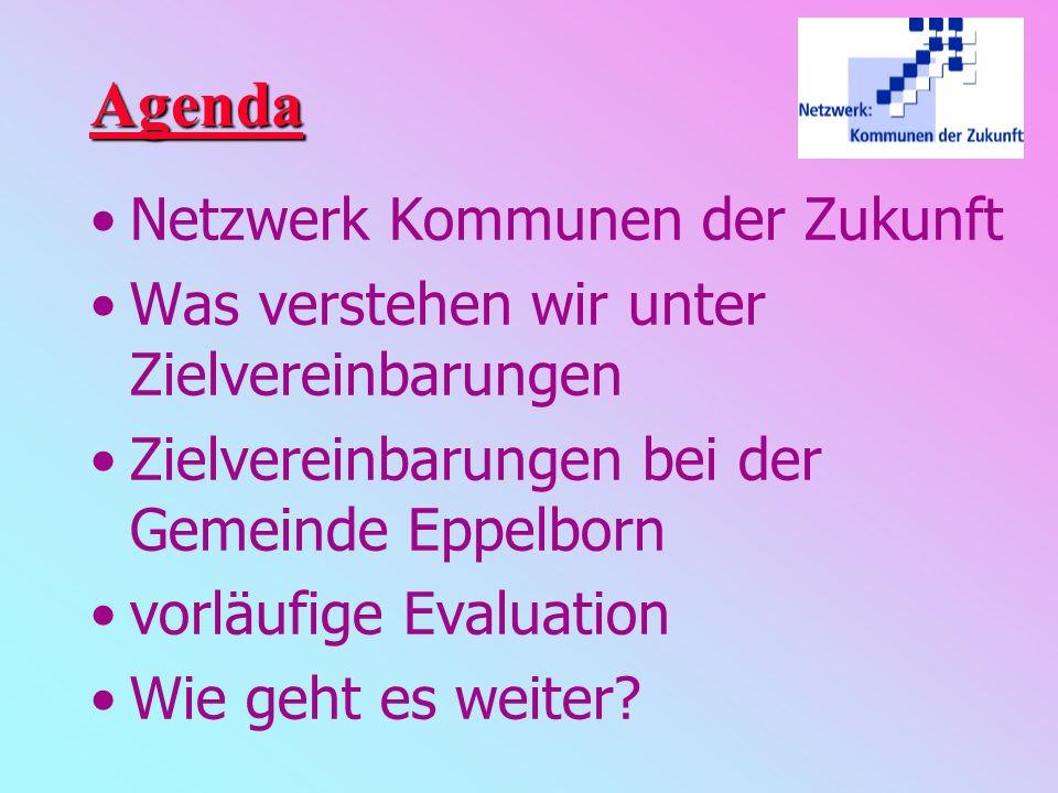 Agenda Netzwerk Kommunen der Zukunft Was verstehen wir unter Zielvereinbarungen Zielvereinbarungen bei der Gemeinde Eppelborn vorläufige Evaluation Wie geht es weiter?