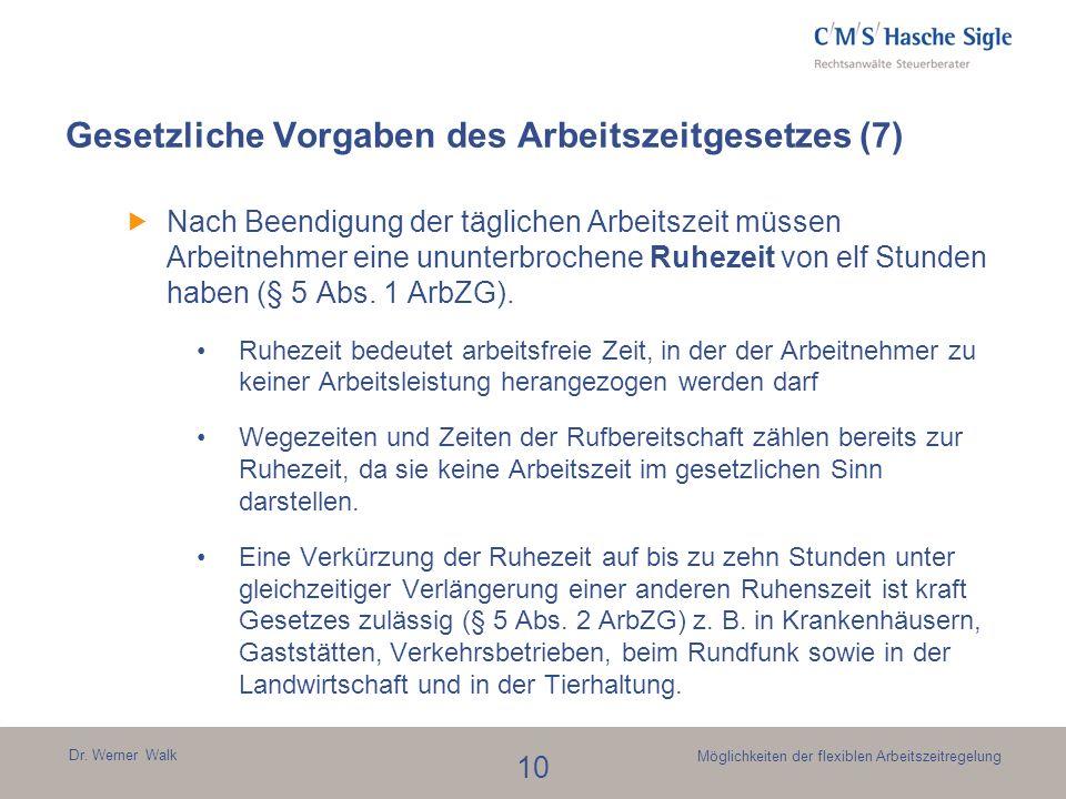 Dr. Werner Walk 10 Möglichkeiten der flexiblen Arbeitszeitregelung Gesetzliche Vorgaben des Arbeitszeitgesetzes (7) Nach Beendigung der täglichen Arbe