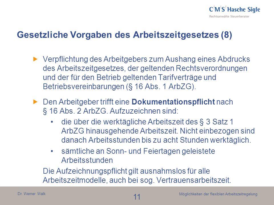 Dr. Werner Walk 11 Möglichkeiten der flexiblen Arbeitszeitregelung Gesetzliche Vorgaben des Arbeitszeitgesetzes (8) Verpflichtung des Arbeitgebers zum