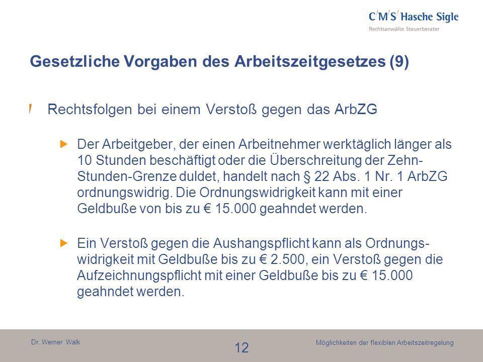 Dr. Werner Walk 12 Möglichkeiten der flexiblen Arbeitszeitregelung Gesetzliche Vorgaben des Arbeitszeitgesetzes (9) Rechtsfolgen bei einem Verstoß geg