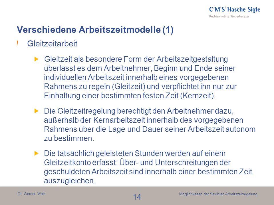 Dr. Werner Walk 14 Möglichkeiten der flexiblen Arbeitszeitregelung Verschiedene Arbeitszeitmodelle (1) Gleitzeitarbeit Gleitzeit als besondere Form de
