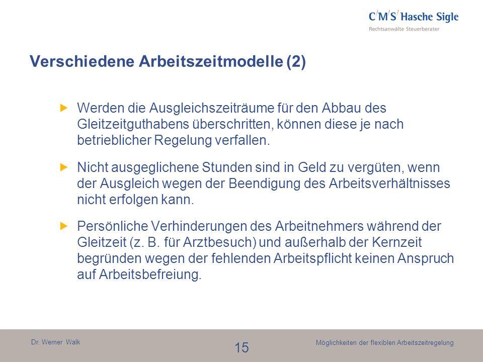 Dr. Werner Walk 15 Möglichkeiten der flexiblen Arbeitszeitregelung Verschiedene Arbeitszeitmodelle (2) Werden die Ausgleichszeiträume für den Abbau de