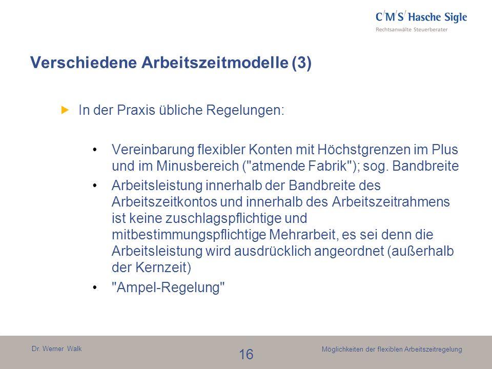 Dr. Werner Walk 16 Möglichkeiten der flexiblen Arbeitszeitregelung In der Praxis übliche Regelungen: Vereinbarung flexibler Konten mit Höchstgrenzen i