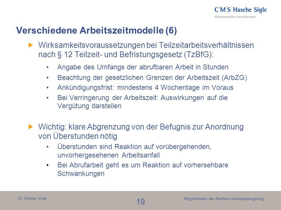 Dr. Werner Walk 19 Möglichkeiten der flexiblen Arbeitszeitregelung Verschiedene Arbeitszeitmodelle (6) Wirksamkeitsvoraussetzungen bei Teilzeitarbeits