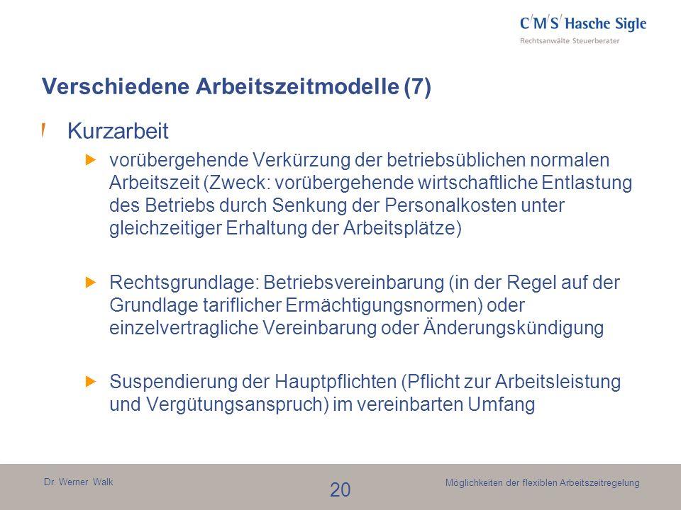 Dr. Werner Walk 20 Möglichkeiten der flexiblen Arbeitszeitregelung Kurzarbeit vorübergehende Verkürzung der betriebsüblichen normalen Arbeitszeit (Zwe
