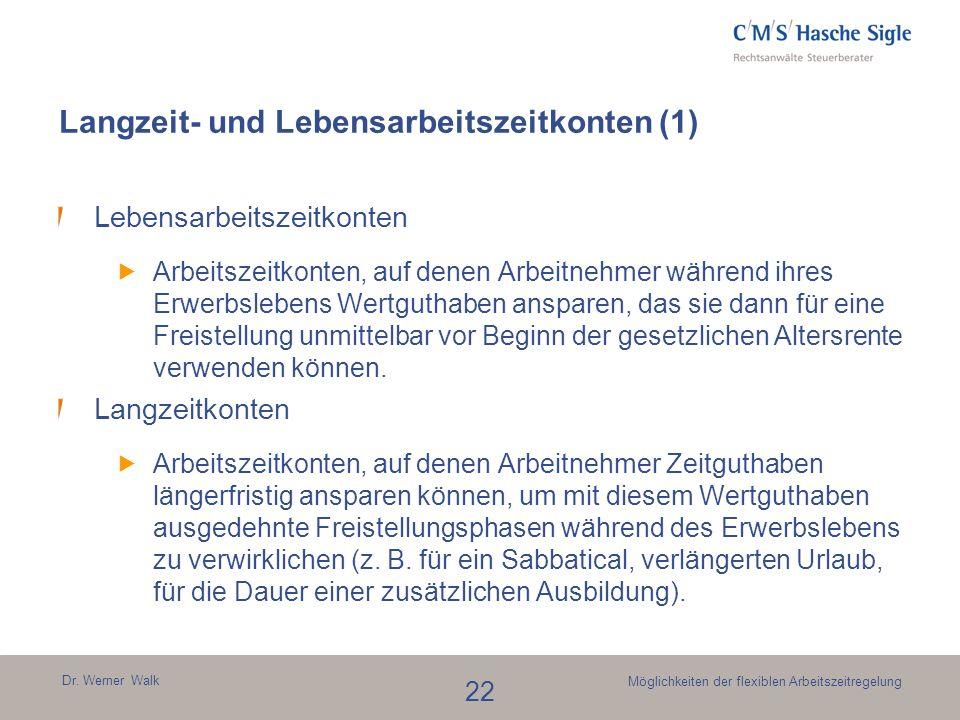 Dr. Werner Walk 22 Möglichkeiten der flexiblen Arbeitszeitregelung Langzeit- und Lebensarbeitszeitkonten (1) Lebensarbeitszeitkonten Arbeitszeitkonten