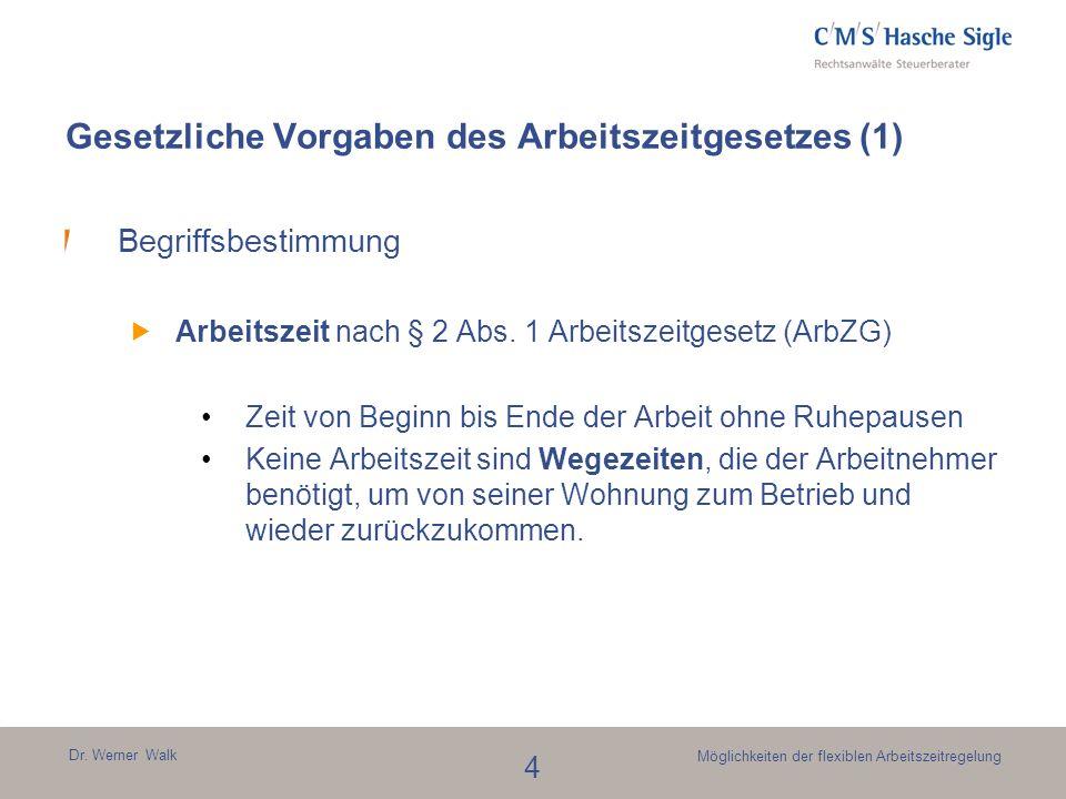 Dr. Werner Walk 4 Möglichkeiten der flexiblen Arbeitszeitregelung Gesetzliche Vorgaben des Arbeitszeitgesetzes (1) Begriffsbestimmung Arbeitszeit nach