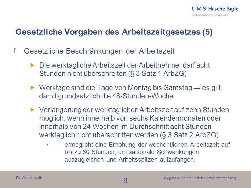 Dr. Werner Walk 8 Möglichkeiten der flexiblen Arbeitszeitregelung Gesetzliche Vorgaben des Arbeitszeitgesetzes (5) Gesetzliche Beschränkungen der Arbe