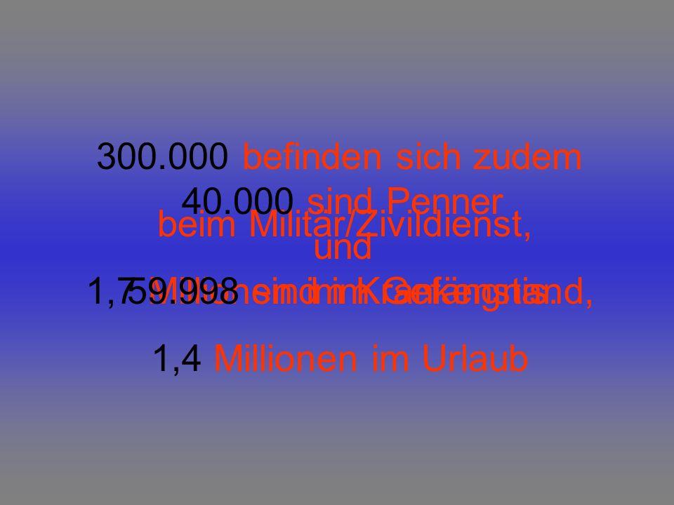 Dann sind da aber noch 4 Millionen Arbeitslose, 16 Millionen Beamte, (die auch kaum etwas tun) sowie 14 Millionen Hausfrauen bzw.