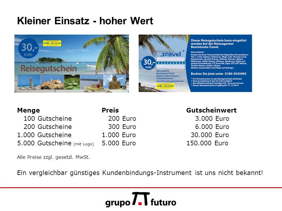 Kleiner Einsatz - hoher Wert MengePreisGutscheinwert 100 Gutscheine 200 Euro 3.000 Euro 200 Gutscheine 300 Euro 6.000 Euro 1.000 Gutscheine1.000 Euro